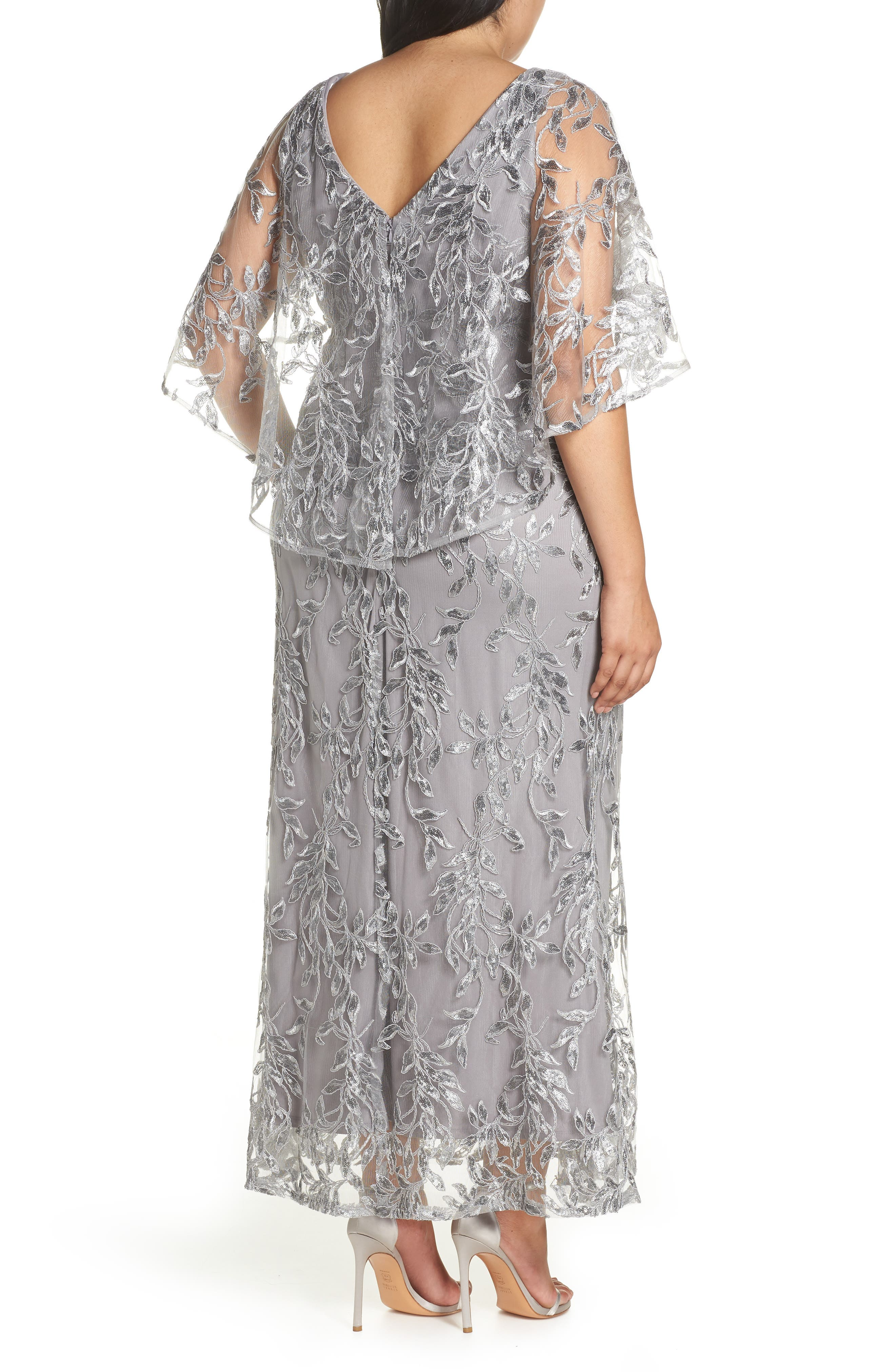 Sequin Embroidered Capelet Gown,                             Alternate thumbnail 2, color,                             Silver
