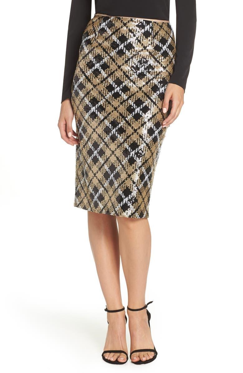 Sequin Plaid Pencil Skirt,                         Main,                         color, Gold/ Black