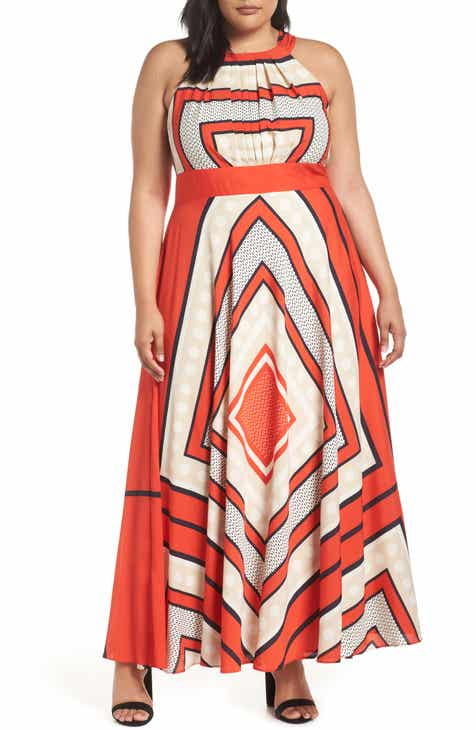 Eliza J Halter Scarf Print Woven Maxi Dress Plus Size