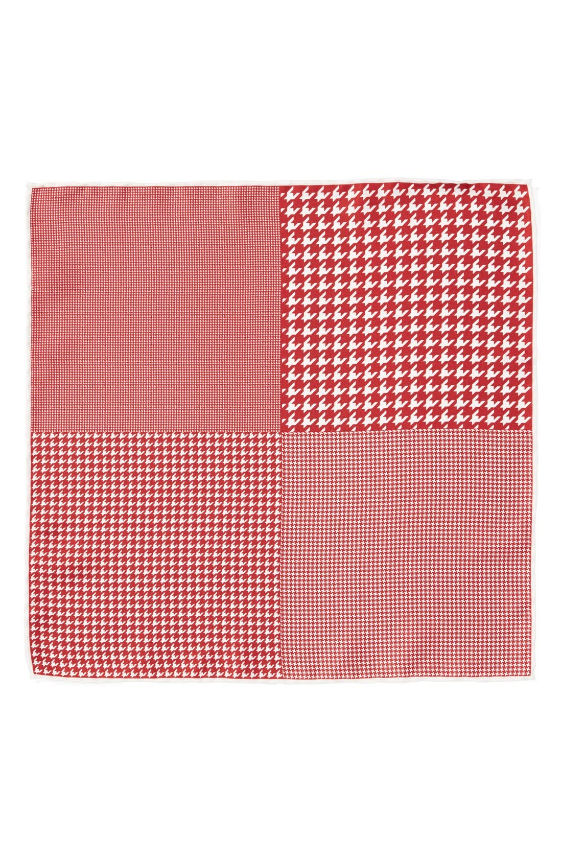 Houndstooth Silk Pocket Square,                             Alternate thumbnail 2, color,                             Red