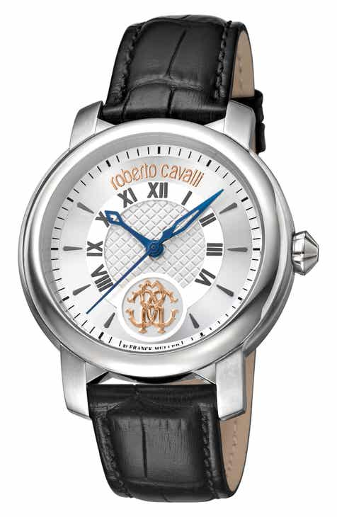ae774bc2392c Roberto Cavalli by Franck Muller Rotondo Leather Strap Watch