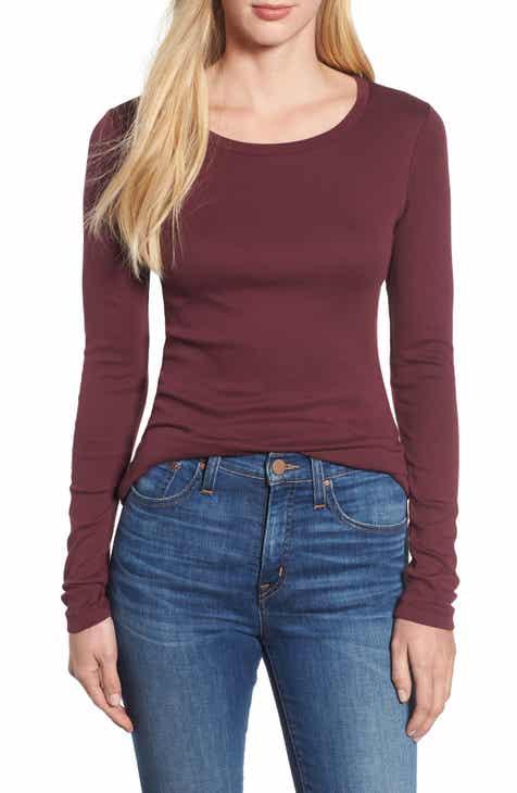 4e8ddc087af625 ... Caslon® Long Sleeve Scoop Neck Cotton Tee (Regular Petite) detailing  af4d5 b838d  Lyst - Ted Baker Rumple Print Long Sleeve Shirt in Red for Men  ...