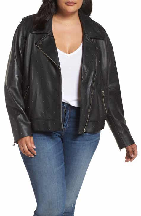 5be38cf63aa27 Lucky Brand Pin Dot Leather Moto Jacket (Plus Size)