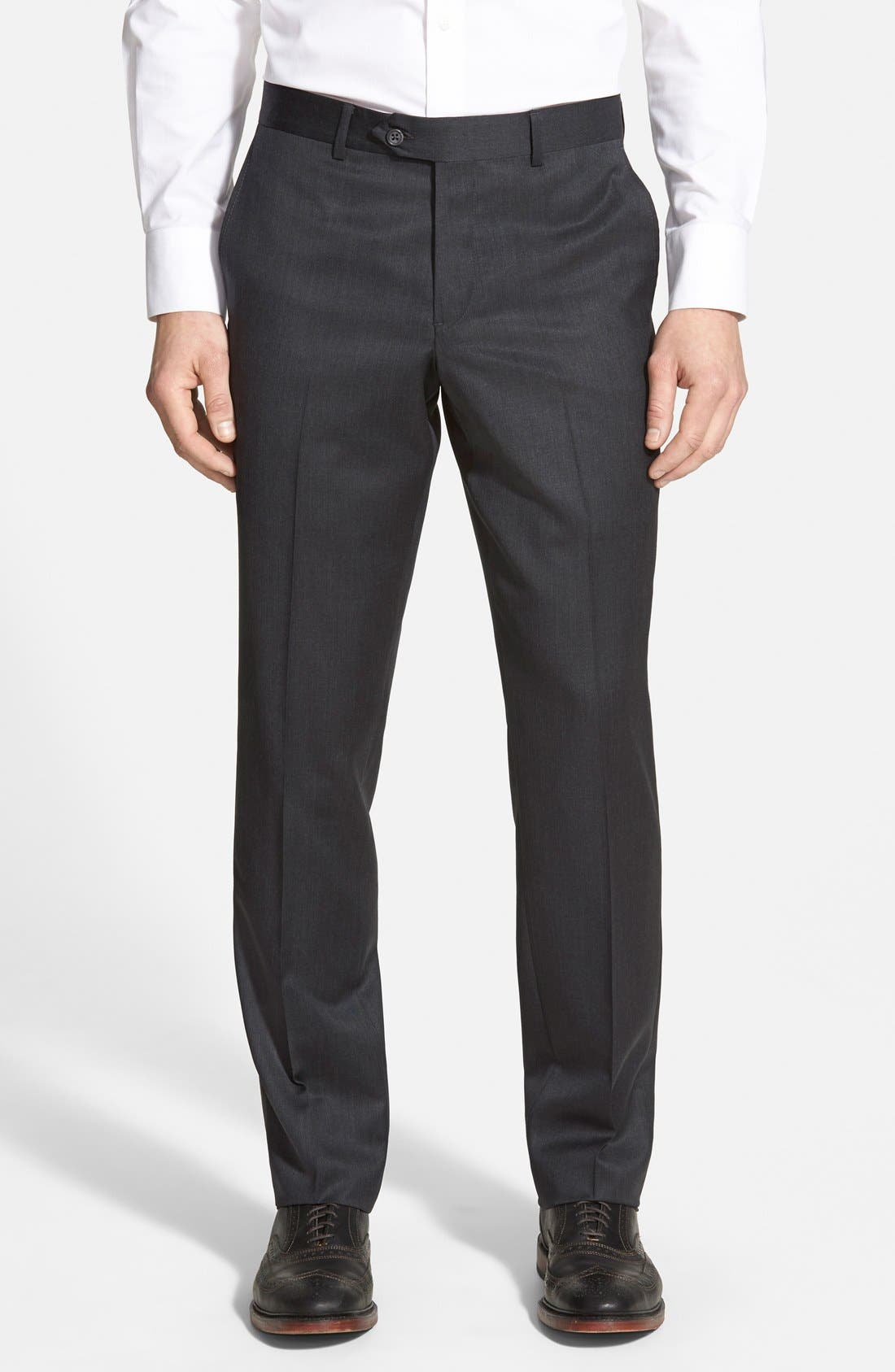 When you're not busy conquering the conference room, kick back in the Kick It Grey Trouser Pants! Sleek pants with a high waist, and tapered ankle-length hems.
