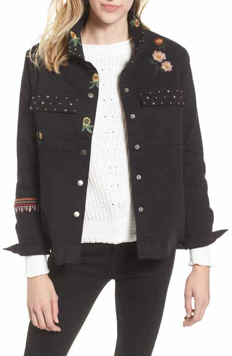 4e010dec917 Billy T Embroidery Stud Detail Cotton Twill Jacket