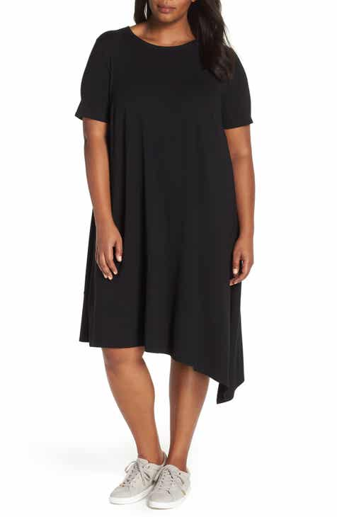 Eileen Fisher Asymmetrical Shift Dress Plus Size