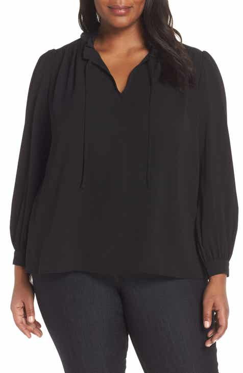 CeCe Split Neck Ruffle Collar Blouse (Plus Size)