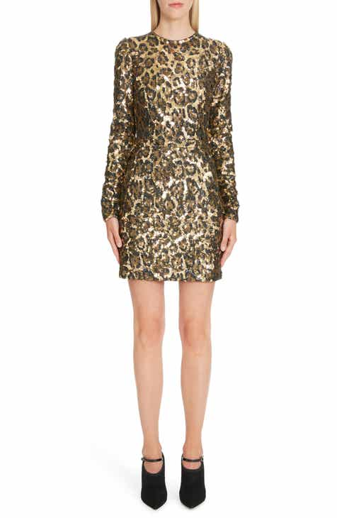 Dolce&Gabbana Sequin Leopard Print Sheath Dress by DOLCE AND GABBANA