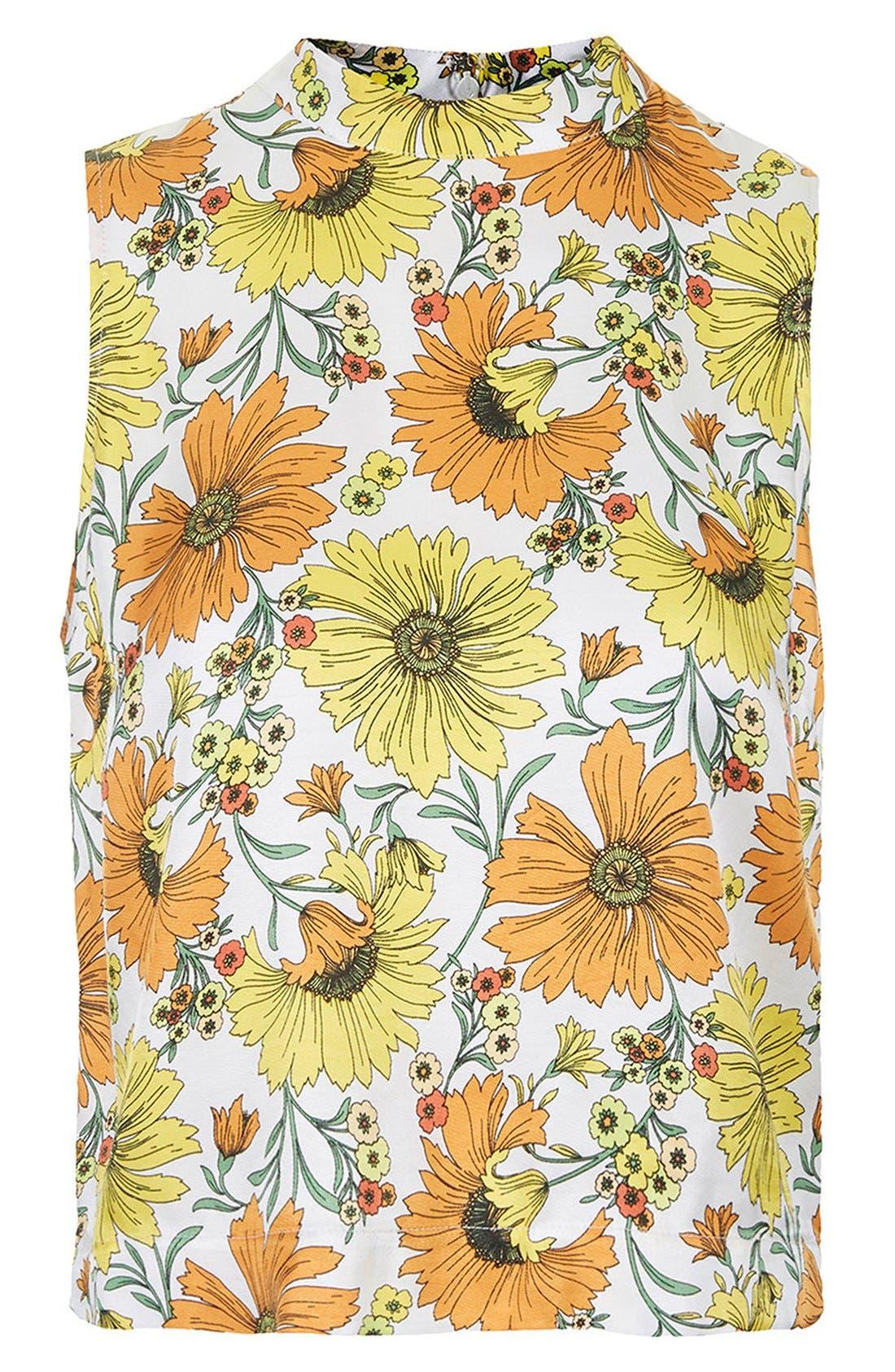 Alternate Image 3  - Topshop Daisy Print Sleeveless Top