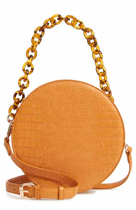 Street Level Croc Embossed Faux Leather Circle Bag