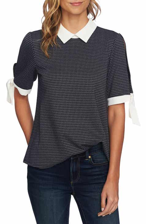 5be1e0e40b0ec CeCe Windowpane Tie Sleeve Collared Blouse
