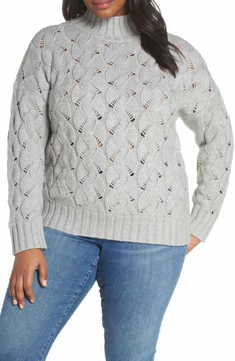 439b833f2abc3 Vince Camuto Texture Stitch Mock Neck Sweater (Plus Size)