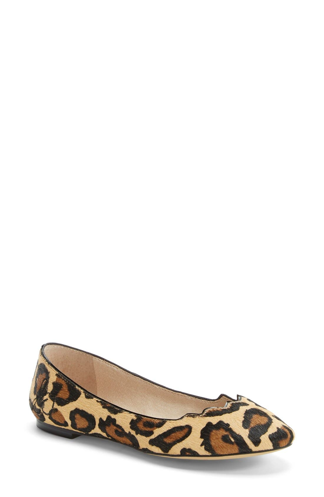 'Alaine' Scalloped Topline Flat,                             Main thumbnail 1, color,                             New Nude Leopard