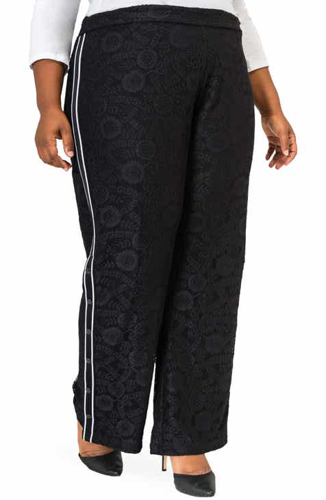 a908d3c92ad Poetic Justice Cornella High Rise Lace Knit Track Pants (Plus Size)