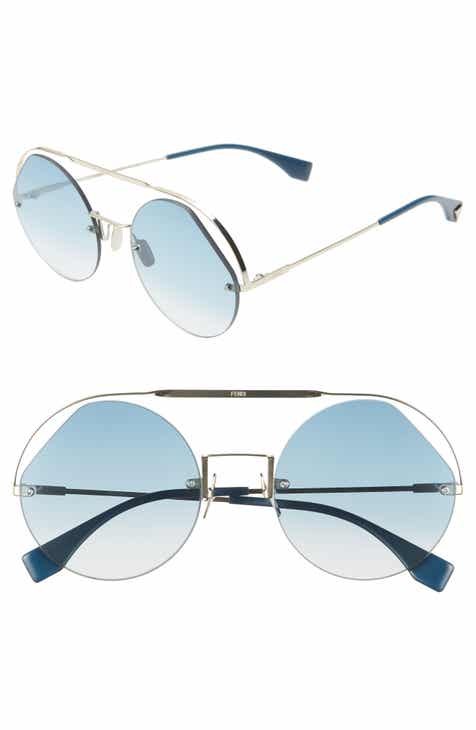 4d2cd8edb3d Fendi 56mm Semi Rimless Round Aviator Sunglasses