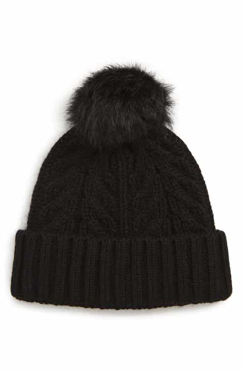 UGG® Pompom Cable Genuine Shearling Beanie b92813cc419