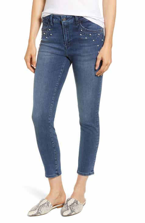 419b6222541ee Mavi Jeans Tess Faux Pearl   Crystal Embellished Skinny Jeans (Indigo Shine)