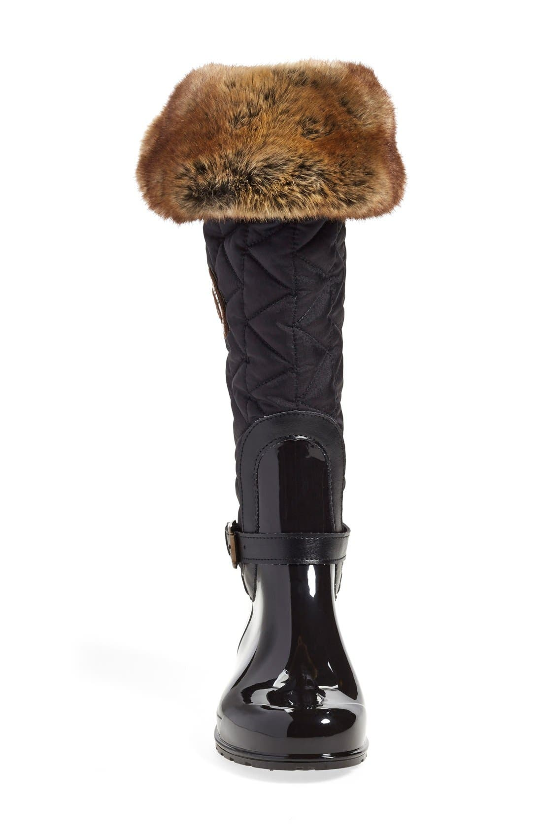 'Clarissa' Waterproof Rain Boot,                             Alternate thumbnail 3, color,                             Black Fabric