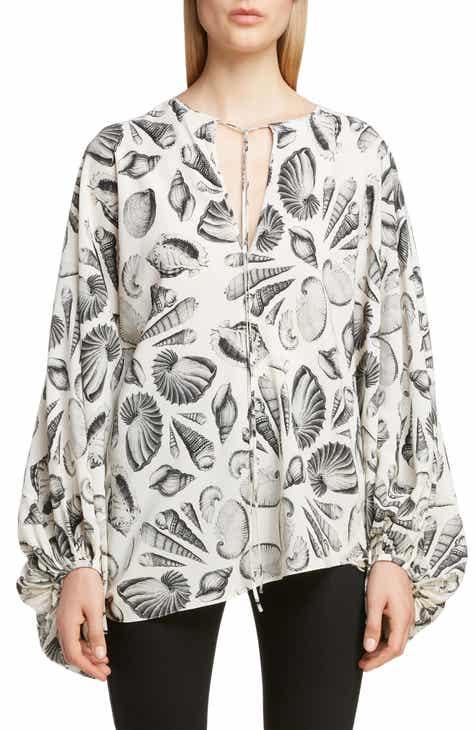 1e5164b65ed1d0 Alexander McQueen Shell Print Silk Blouse