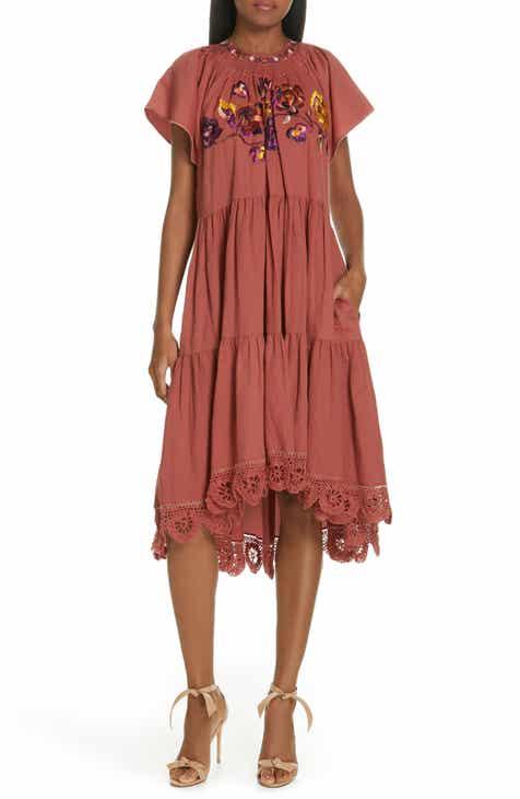 ae1eea1b670 Ulla Johnson Pinar Floral Embroidered Linen   Cotton Midi Dress