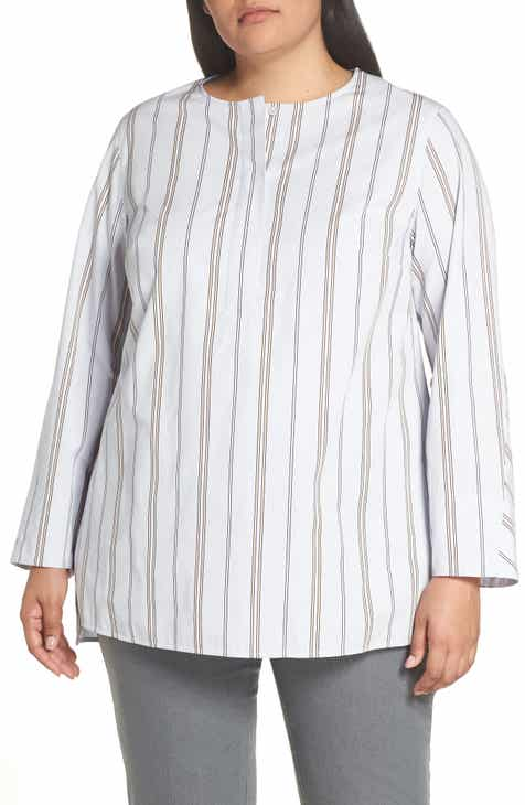 6fd7de3fd2f1f Lafayette 148 New York Tilly Stripe Blouse (Plus Size)