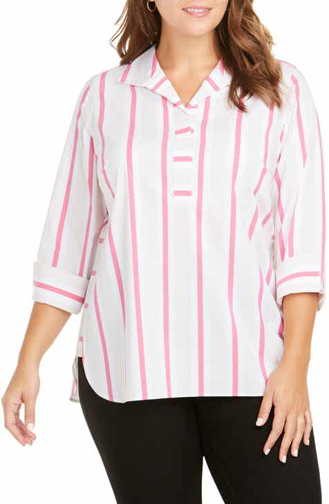 8f7fdd235b9 Foxcroft Dora Variegated Stripe Shirt (Plus Size)