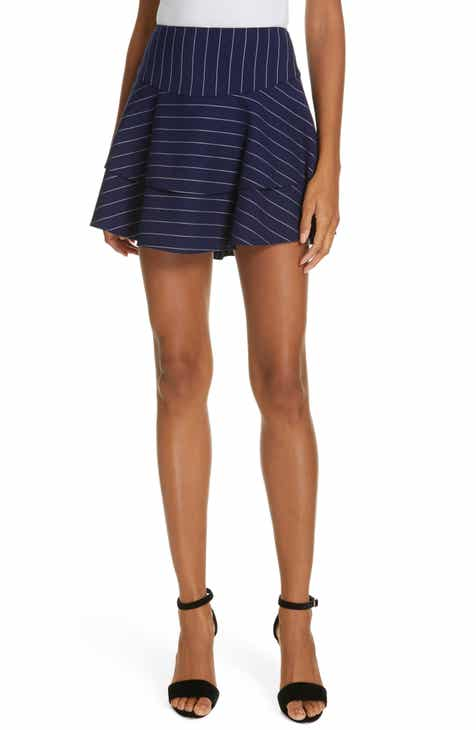 Alice + Olivia Paloma Ruffle Stripe Miniskirt by ALICE AND OLIVIA