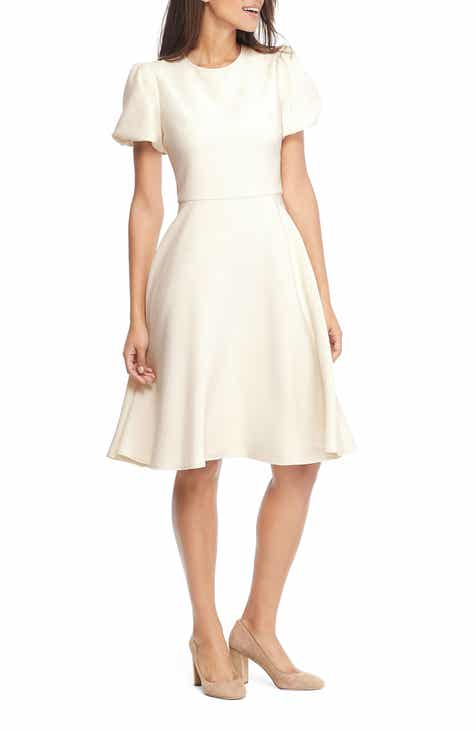 Gal Meets Glam Collection Krista Puff Sleeve Crepe Fit Flare Dress Nordstrom Exclusive