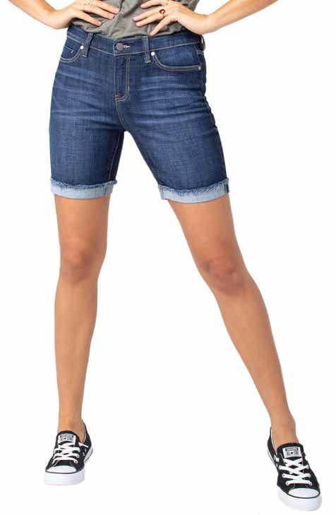 1822 Denim Distressed Longline Denim Shorts by 1822 Denim