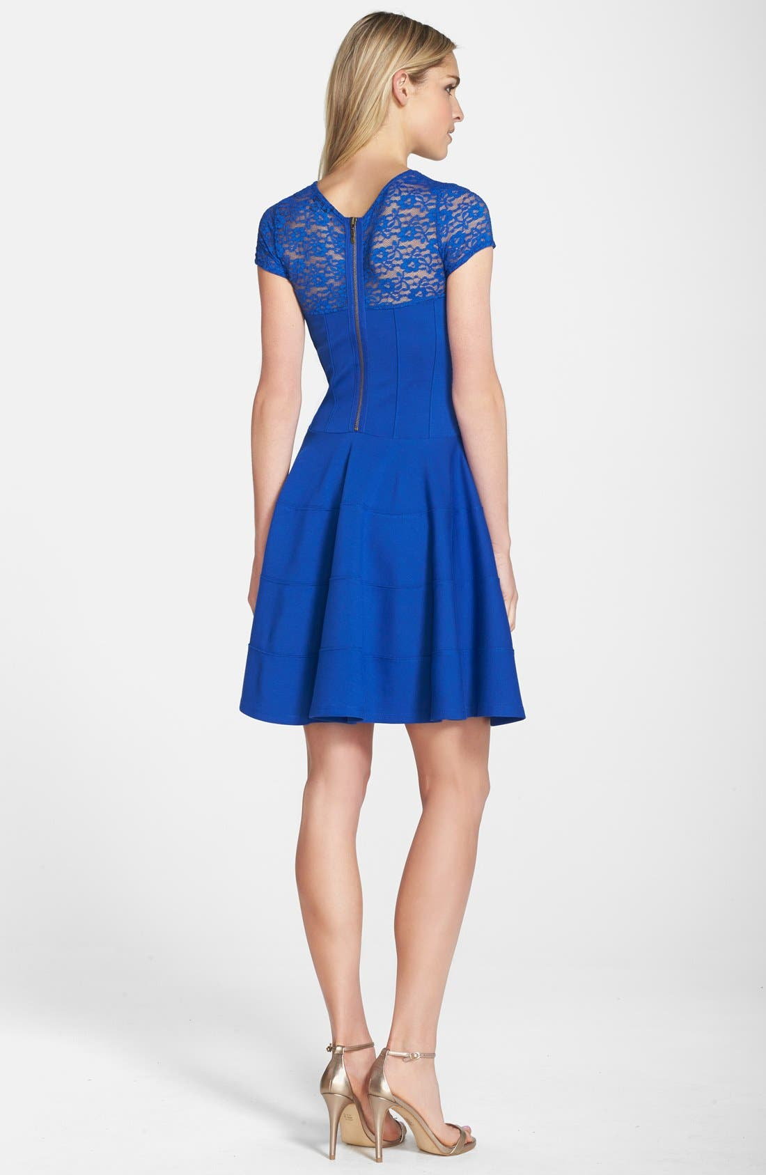 Alternate Image 2  - Felicity & Coco Lace Yoke Fit & Flare Ponte Dress (Nordstrom Exclusive)