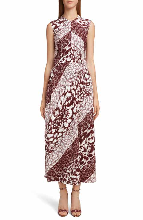 Victoria Beckham Print Side Gather Midi Dress
