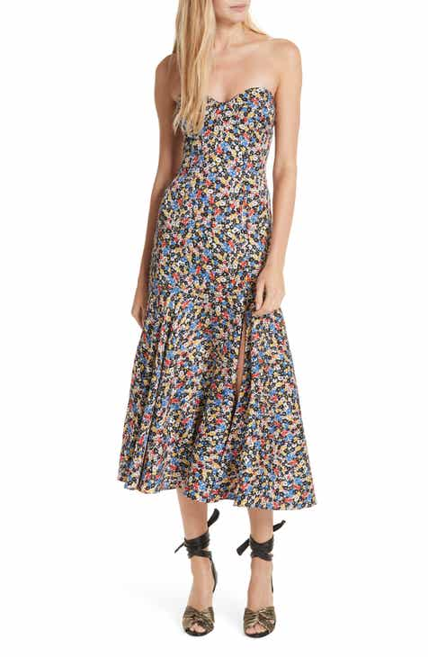 Veronica Beard Annika Floral Print Strapless Stretch Silk Dress 3637a7efa