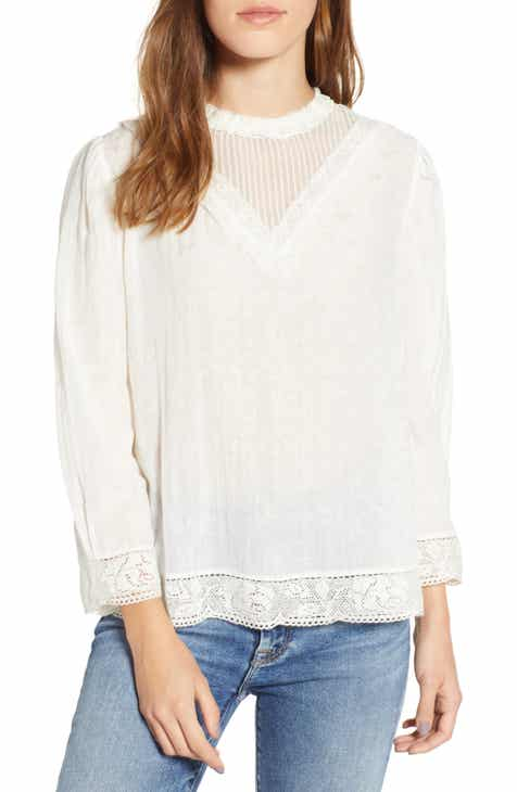 9d0146cf486eb Hinge Lace Detail High Neck Top