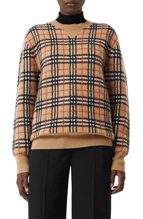 Burberry Check Detail Merino Wool Cardigan by BURBERRY