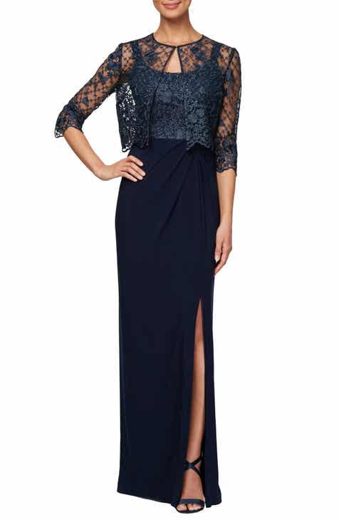 b263a923d6e Alex Evenings Sleeveless Evening Dress with Lace Jacket (Regular   Petite)