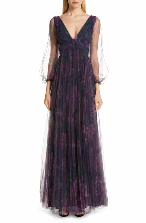 Marchesa Notte Floral Tulle Evening Dress by MARCHESA NOTTE