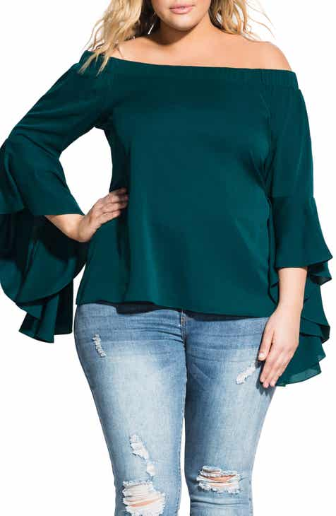 6c02f2a1729a5 City Chic Romantic Off the Shoulder Bell Sleeve Top (Plus Size)