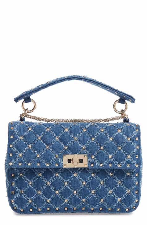 11eb29976039 VALENTINO GARAVANI Rockstud Matelassé Denim Shoulder Bag