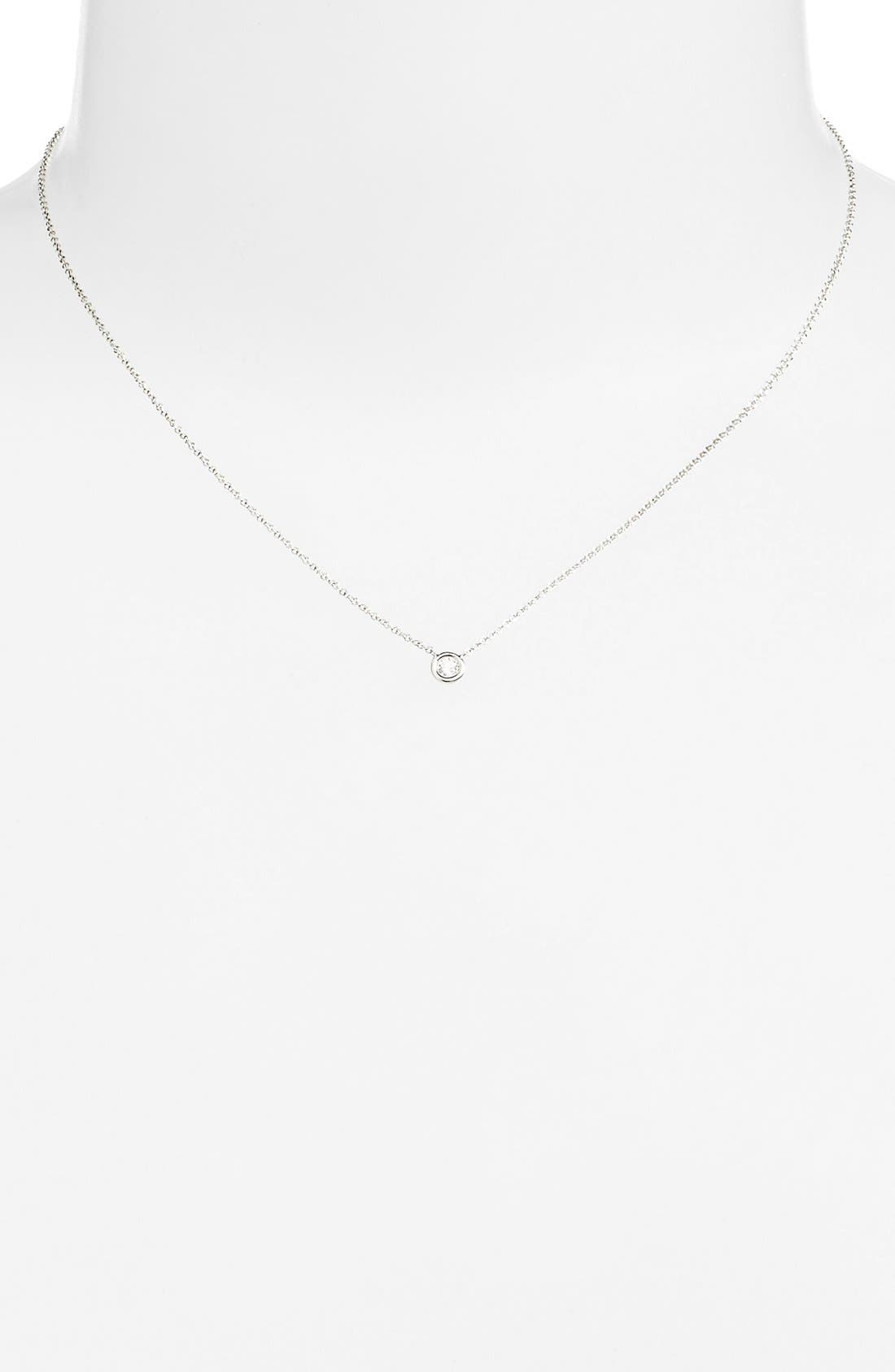Alternate Image 2  - Bony Levy Small Diamond Solitaire Pendant Necklace (Limited Edition) (Nordstrom Exclusive)