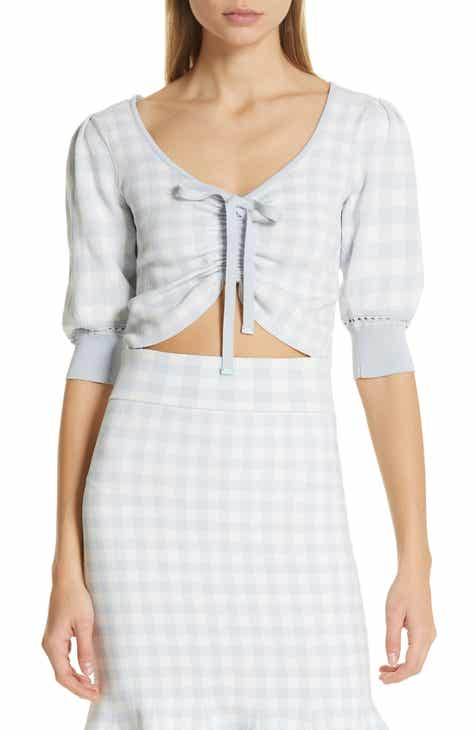 6150c31408dfb Jonathan Simkhai Center Ruched Gingham Knit Crop Top