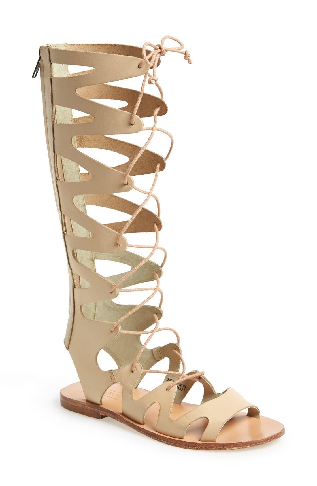 Alternate Image 1 Selected - Topshop 'Figtree' Leather Gladiator Sandal (Women)