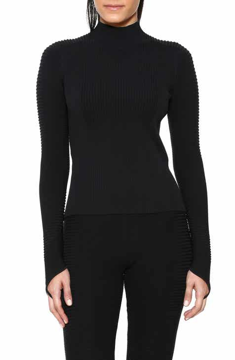 Adam Selman Sport Rib Knit Mock Neck Top by ADAM SELMAN SPORT