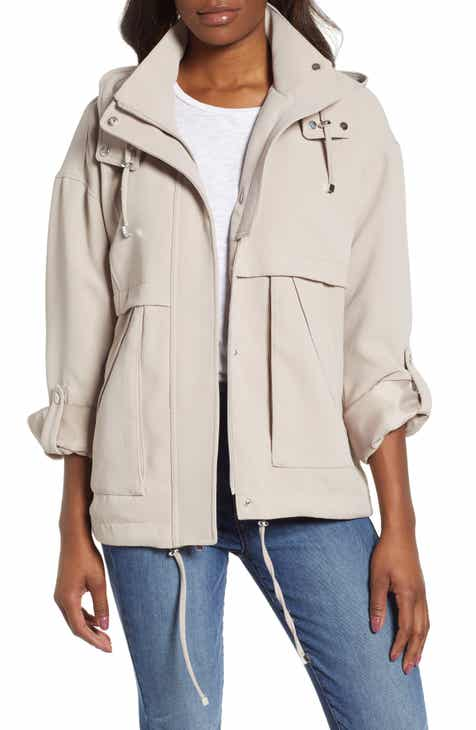 kensie Crepe Blouson Hooded Jacket by KENSIE