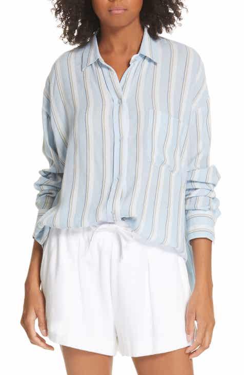 b75a3bd33ecaa4 Vince Textured Stripe Button Up Blouse