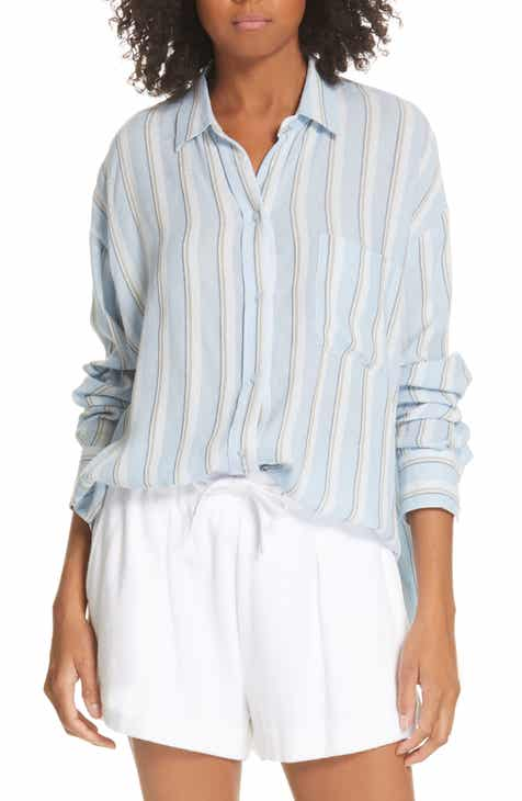 81286299b37ca3 Vince Textured Stripe Button Up Blouse