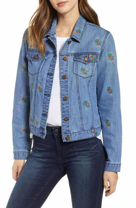 c407883622 Tinsel Floral Embroidered Denim Jacket