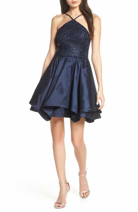 Sequin Hearts Stretch Taffeta & Lace Halter Neck Party Dress