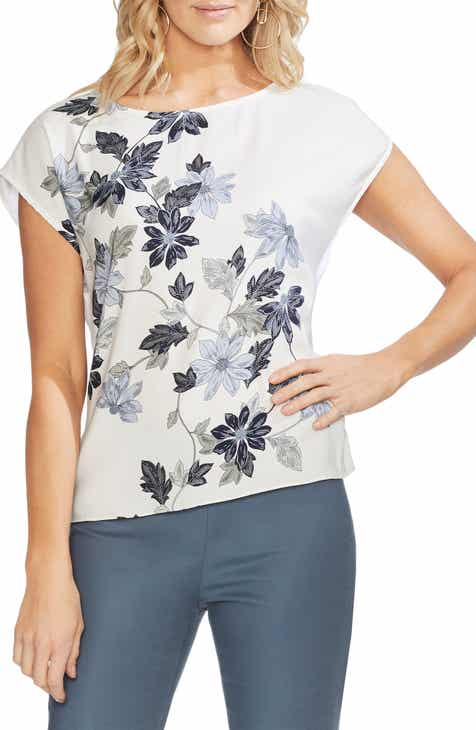 0391b8cde81 Vince Camuto Floral Vines Mixed Media Top