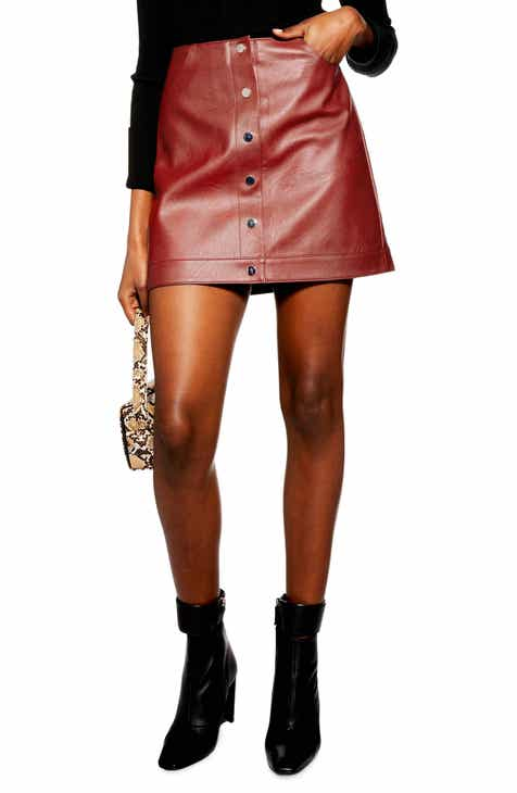 Topshop Dixie Faux Leather Miniskirt (Regular   Petite) bee433fe1