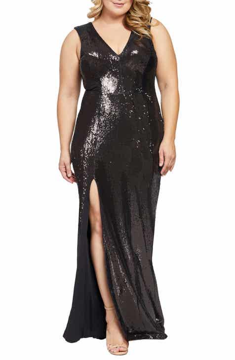 c1d144ab1a6 Dress the Population Sandra Plunge Sequin Gown (Plus Size)